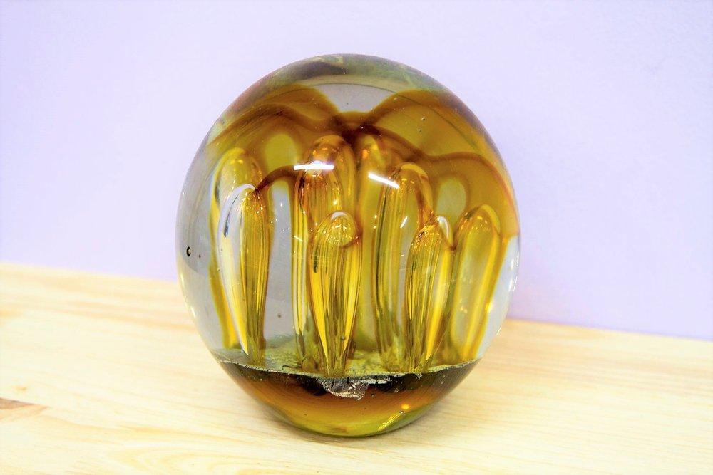 Amber Ball Paperweight - R 820 - Stunning piece of glass artwork.