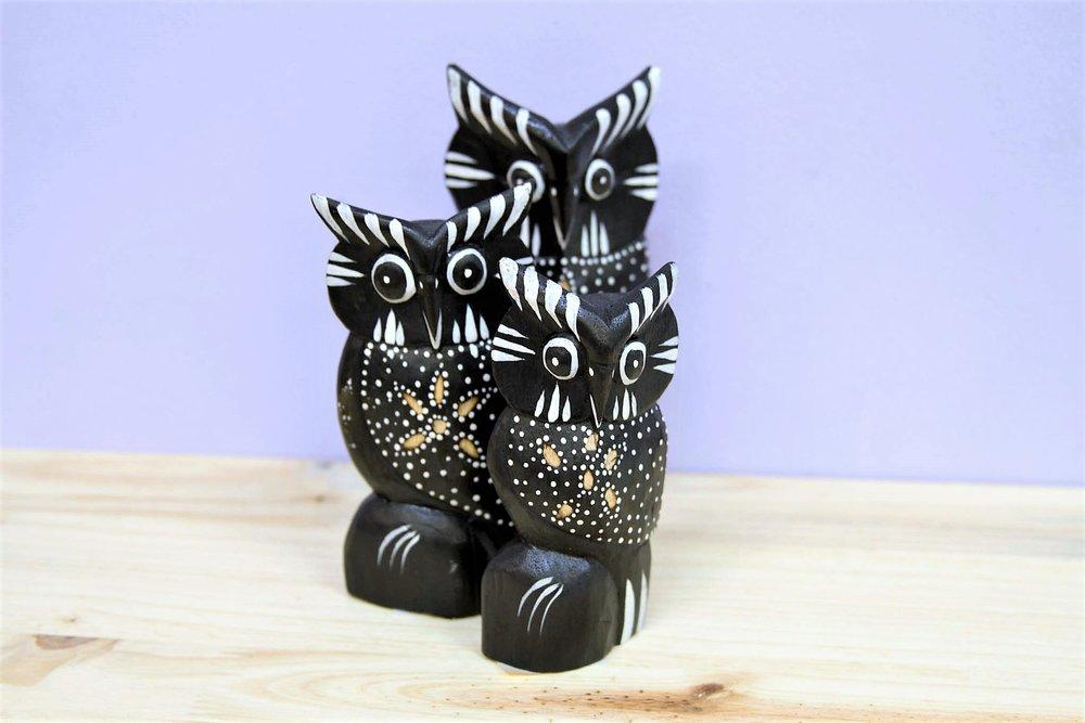 Black & White Wooden Owl Set - R 180 - Set of 3 sold together.