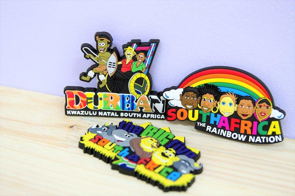 Rubber Magnets - R 65 each - Durban Rickshaw, Rainbow Nation and Big 5 SA.