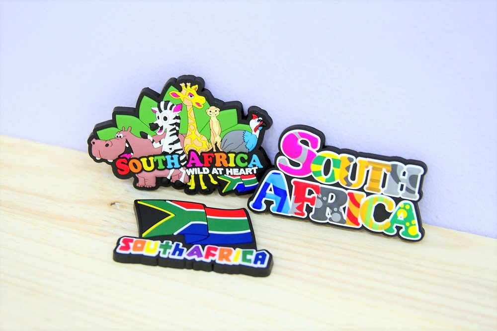 Rubber Magnets - R 65 each - Wild at Heart SA, South Africa words & SA Flag.