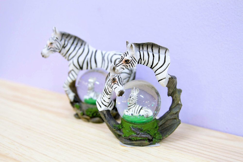 Zebra Snow Globe - R 150 each - Zebra sparkly snow globe souvenir.