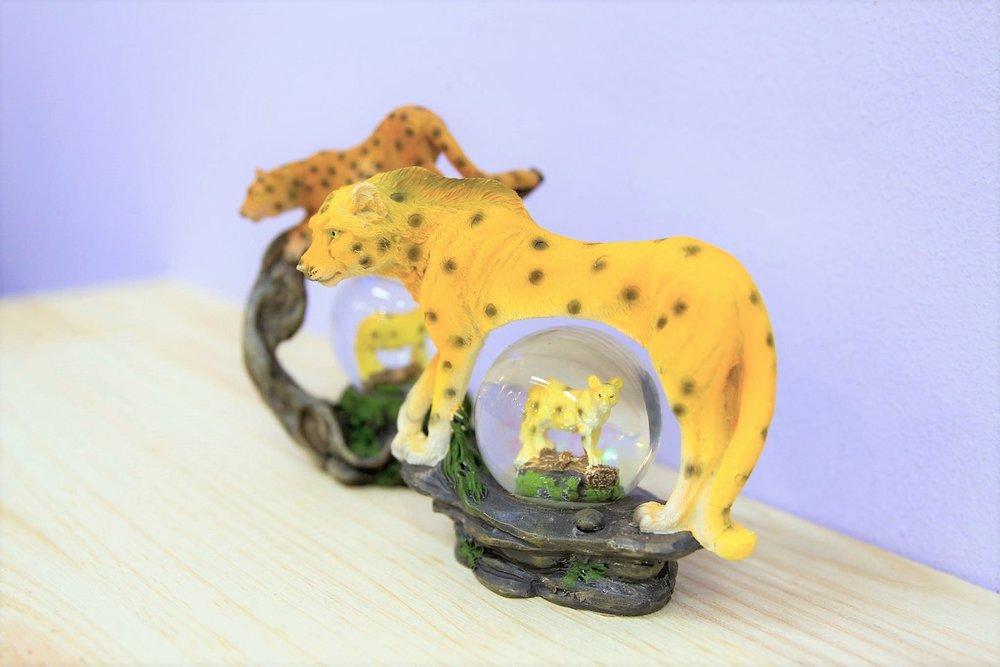 Cheetah Snow Globe - R 150 each - Cheetah sparkly snow globe souvenir.