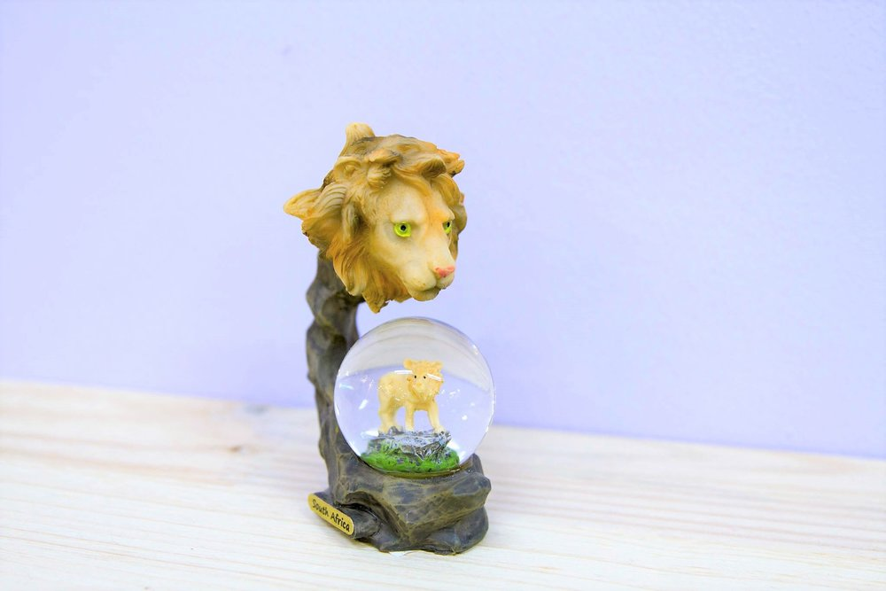 Lion Snow Globe - R 150 - Lion sparkly snow globe souvenir.