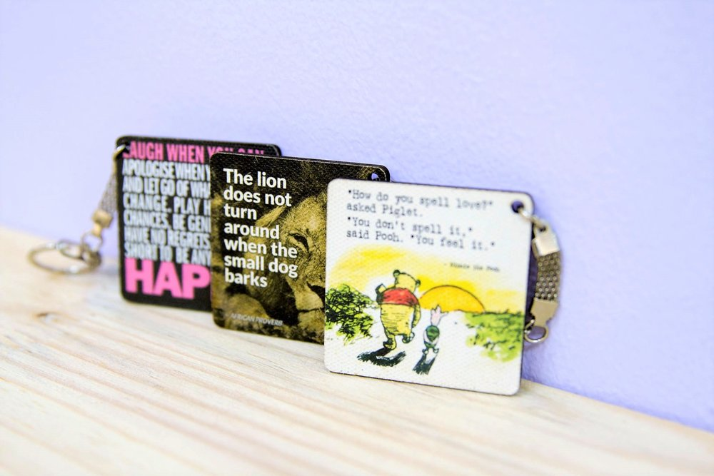 Key Ring with Quotes - R 45 each - Various designs available - please inquire.