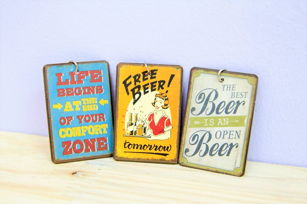 Metal Quote Key Rings - R 40 each - Various designs available - please inquire.