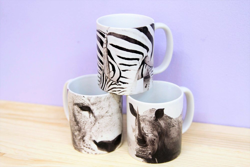 Animal Print Mugs - R 80 each - Various designs available - please inquire.