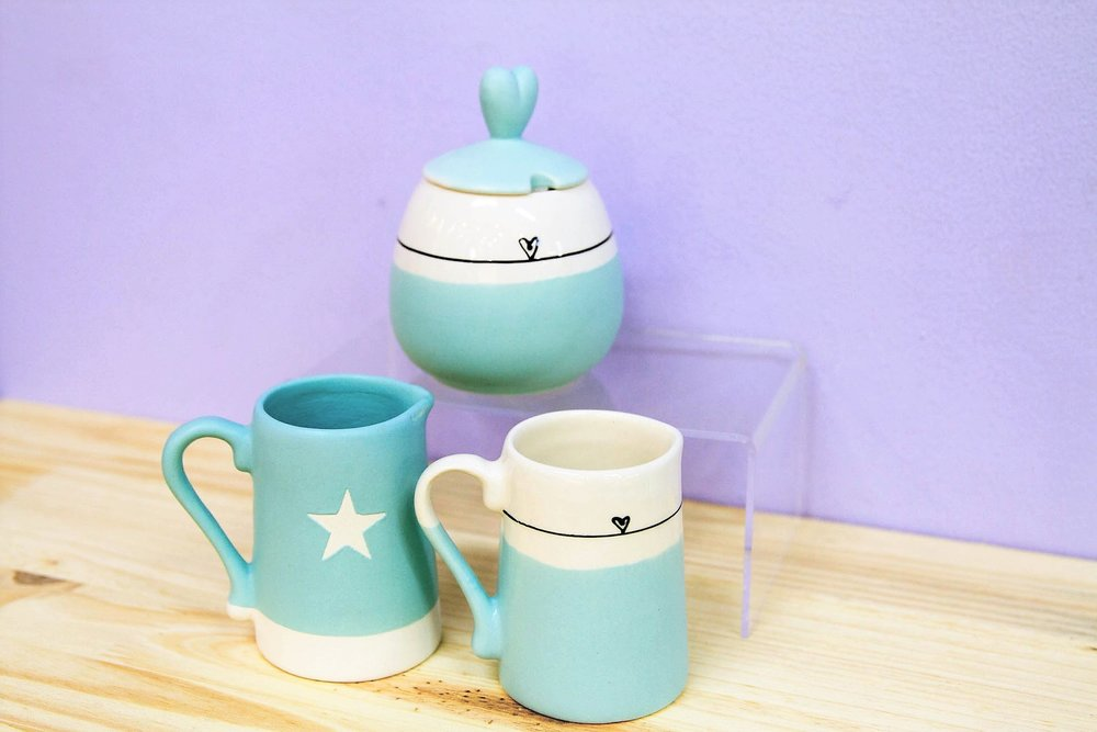 Sugar Pot & Milk Jugs - R 140 to R 200 - Designs as pictured.