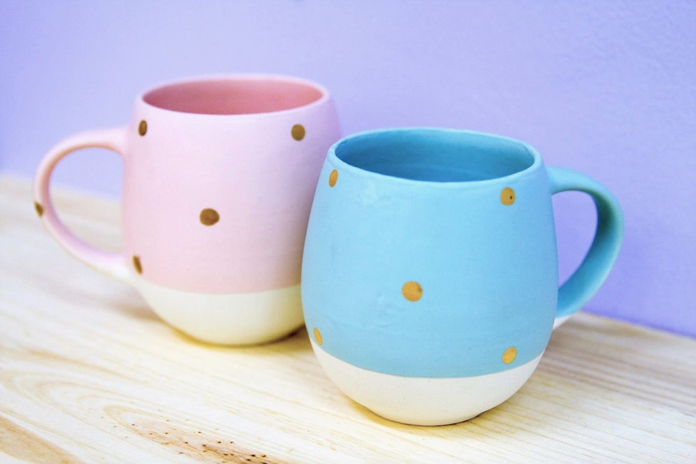 Spotted Mugs - R 170 each - Available in pink or blue.
