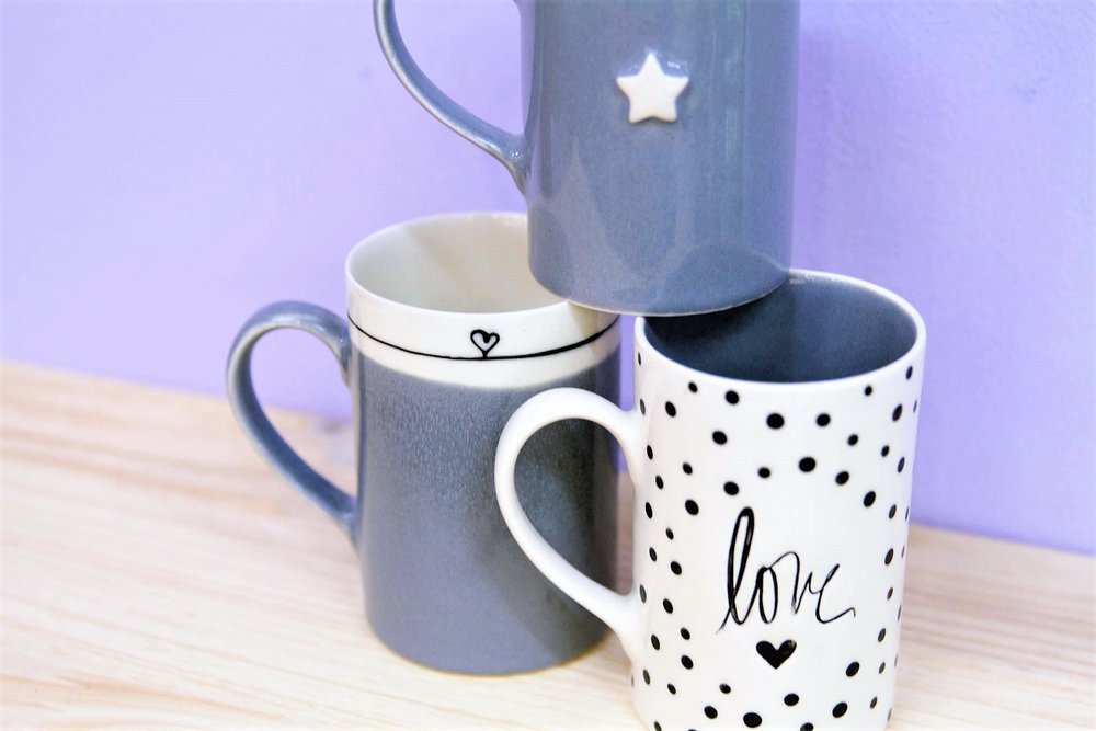 Various Coffee Mugs - R 130 each - Various designs available - please inquire.