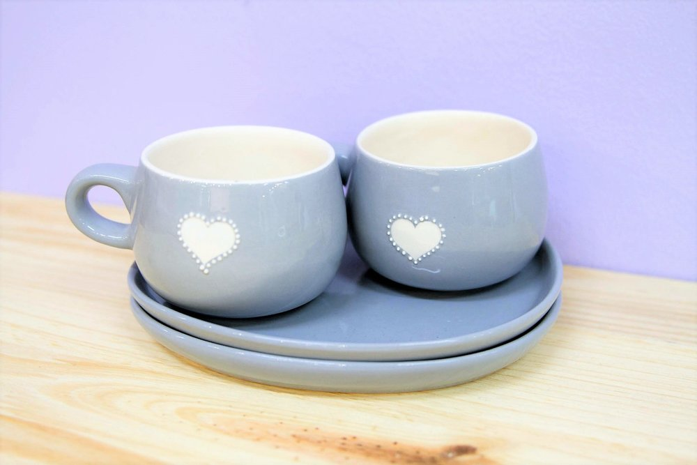 Grey Heart Teacup & Saucer Set - R 385 - A set of two teacups and two saucers. Currently sold out.