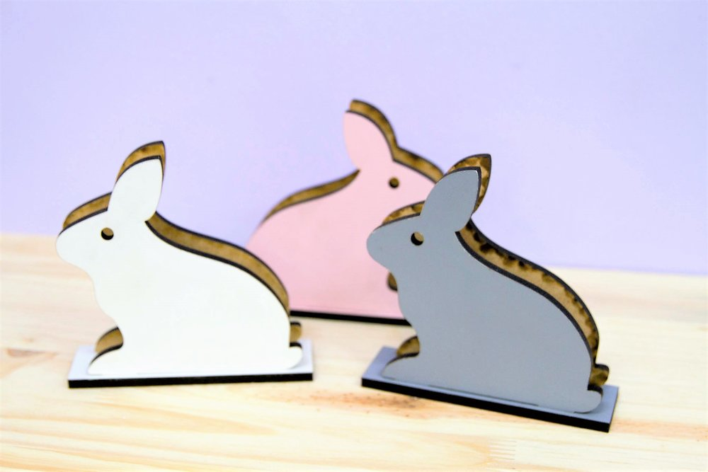 Bunny Serviette Holders - R 140 each - 3 colors available as pictured.