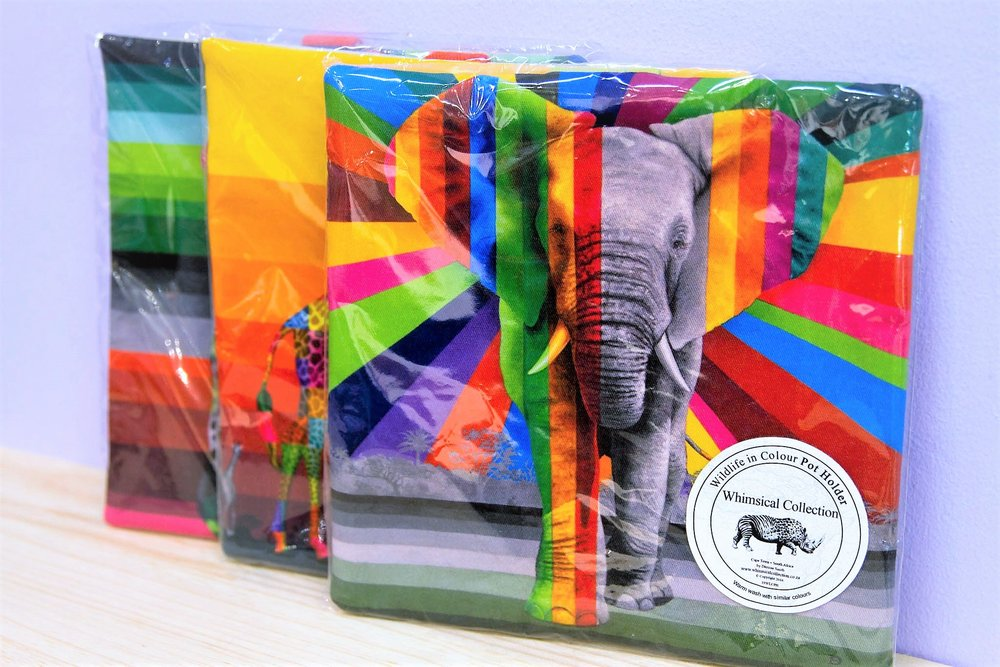 Wildlife in Color Pot Holders - R 230 each - Various designs available - please inquire.