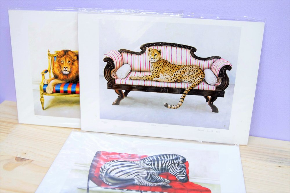 Wildlife at Leisure A4 Print - R 360 each - Signed and numbered prints of artwork done by a local artist.