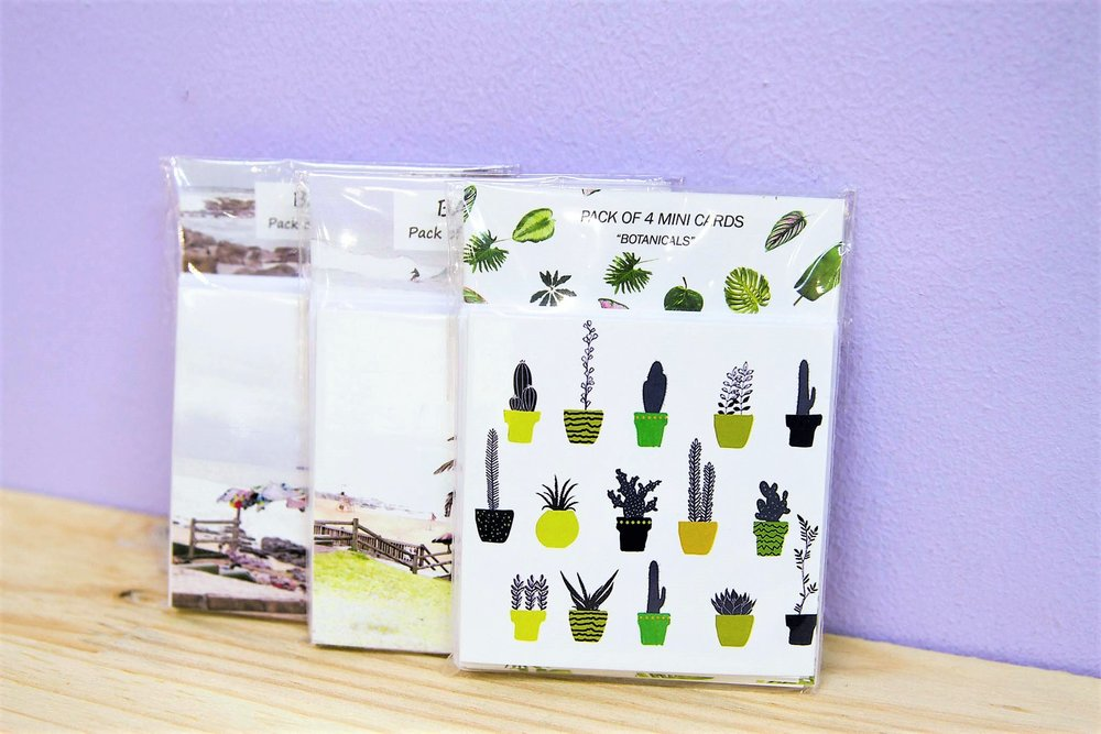 Pack of 4 Mini Cards - R 80 each - Various quotes & designs - please inquire.