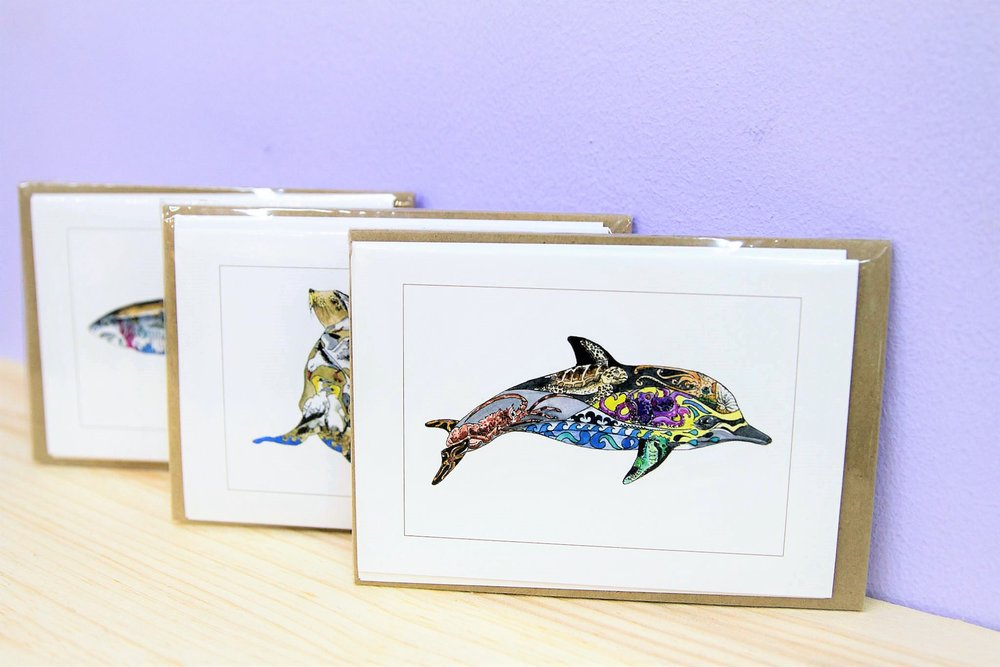 Ocean Life Card Pack - R 100 each - A pack of 6 different designs.