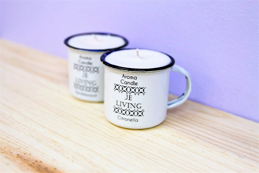 Tin Mug Candle Small - R 55 each - Available in Citronella, Vanilla Pod & Sandalwood. Currently Sold Out.