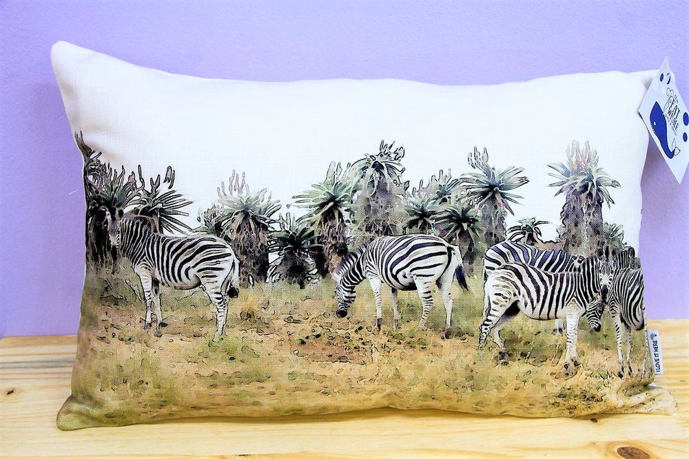 Zebra Dazzle Cushion Cover - R 330 - Rectangle - Inner Sold Separately.