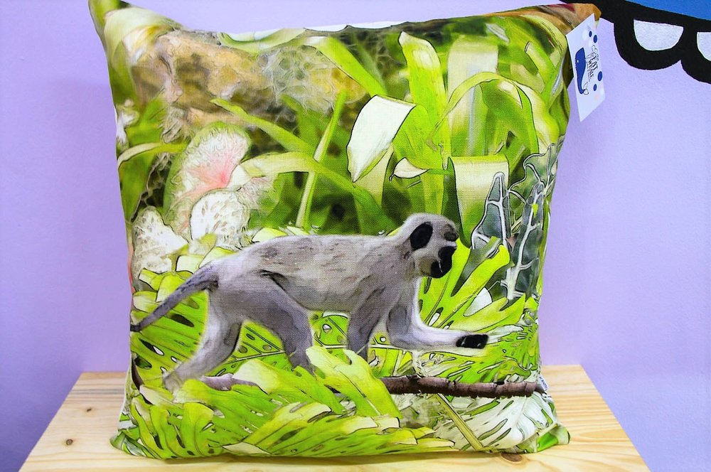 KZN Monkey Cushion Cover - R 365 - Square - Inner Sold Separately.