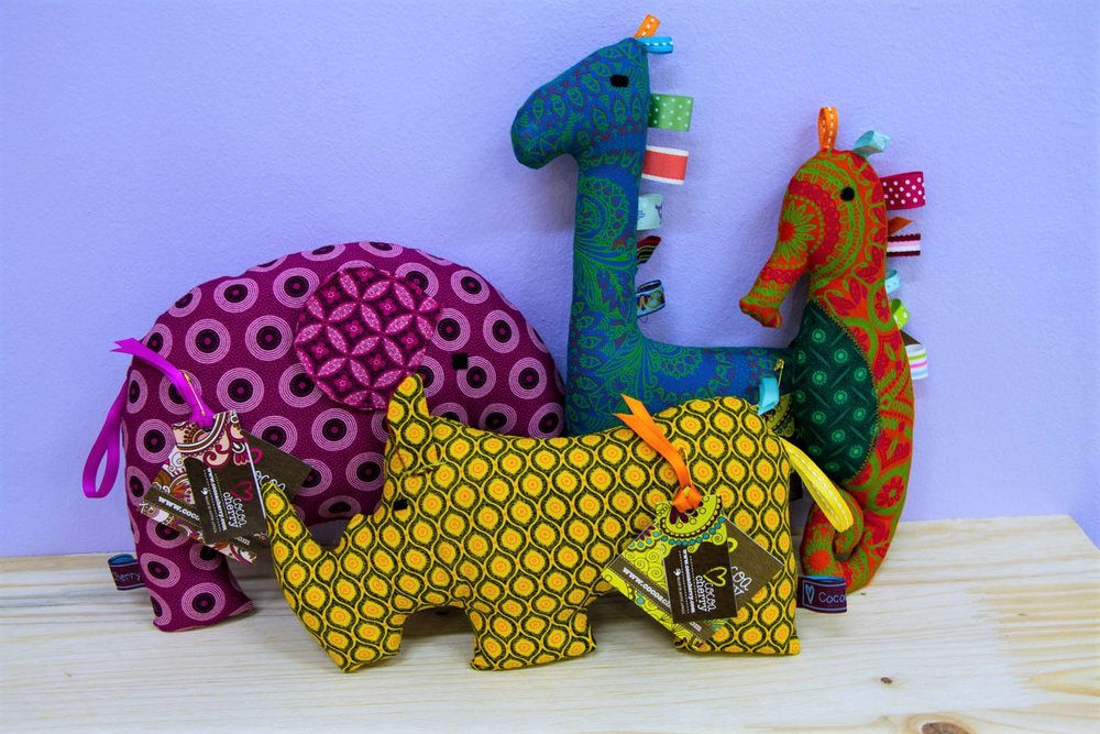 Various Shwe Shwe Toys - R 160 to R 180 - Carefully hand made using various fabrics. Please inquire for designs.