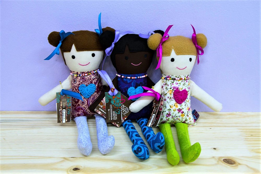 Nandi & Rosalie Dolls - R 250 each - Carefully hand made using various fabrics. Please inquire for designs.