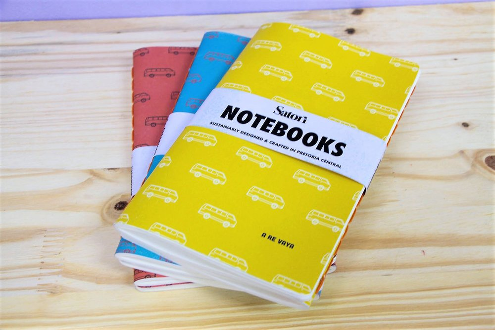 Satori Colored Notebooks - R 140 for a set of two - Hand stitched and crafted in SA. 3 colors available as pictured.