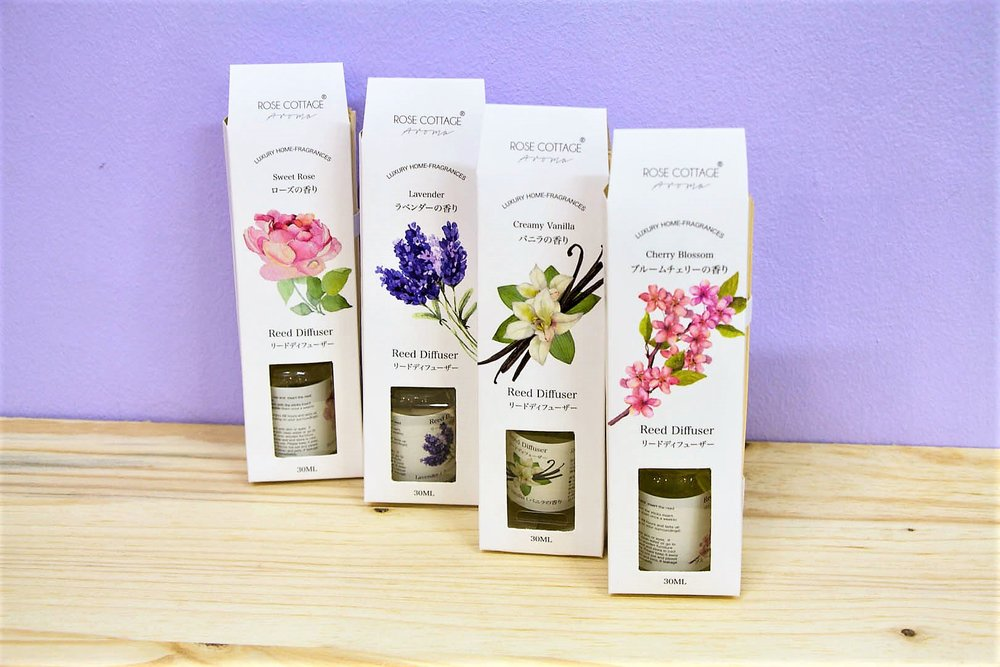 Various Scented Diffusers - R 70 each - Available in vanilla, lavender, rose and cherry blossom.