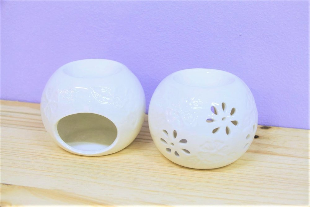 Floral Cut-Out Oil Burners - R 85 each - The candlelight will look lovely shining through the flowers.