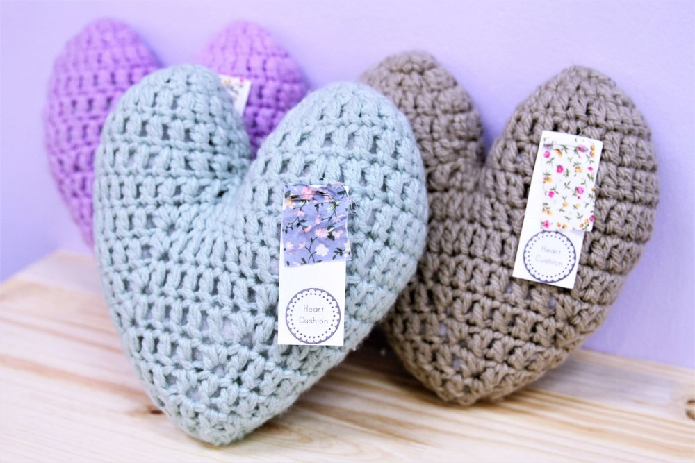 Wool Heart Cushions - R 175 each - Various colors available - please inquire.