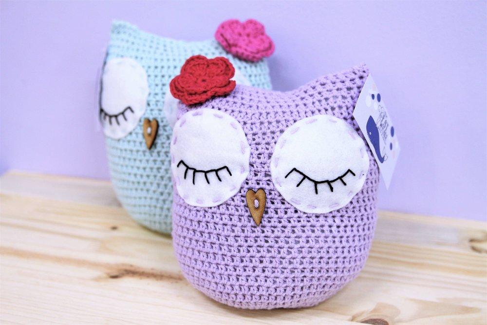 Owl Doorstops - R 295 each - Adorable owl woolen doorstops - colors available as pictured.