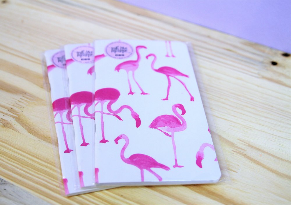 Flamingo Notebooks - R 80 each - Design as pictured.