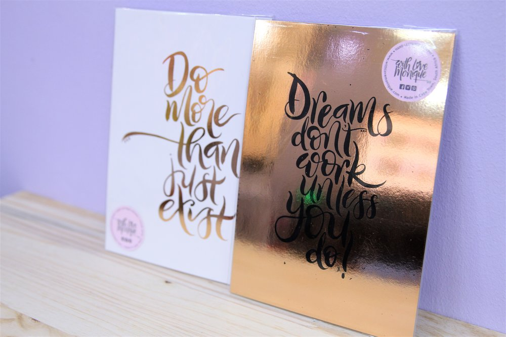 A5 Foiled Prints - R 160 each - Loads of designs available - please inquire.