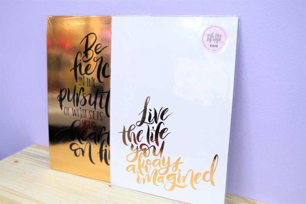 A4 Foiled Prints - R 210 each - Loads of designs available - please inquire.