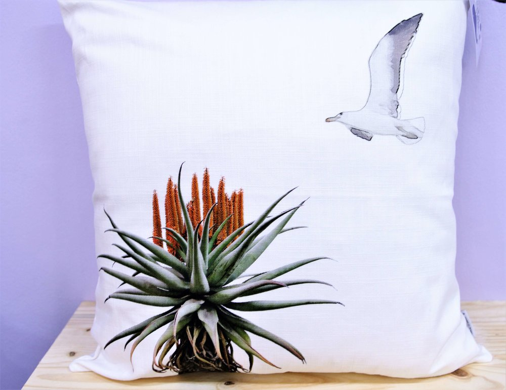 Aloe & Seagull Cushion Cover - R 365 - Square - Inner Sold Separately.