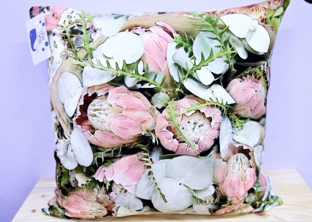 Pink Protea Bunch Cushion Cover - R 365 - Square - Inner Sold Separately.