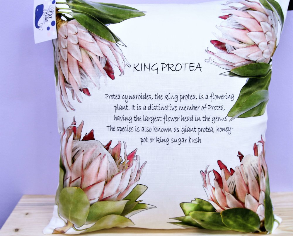 King Protea Cushion Cover - R 365 - Square - Inner Sold Separately. Currently Sold Out.