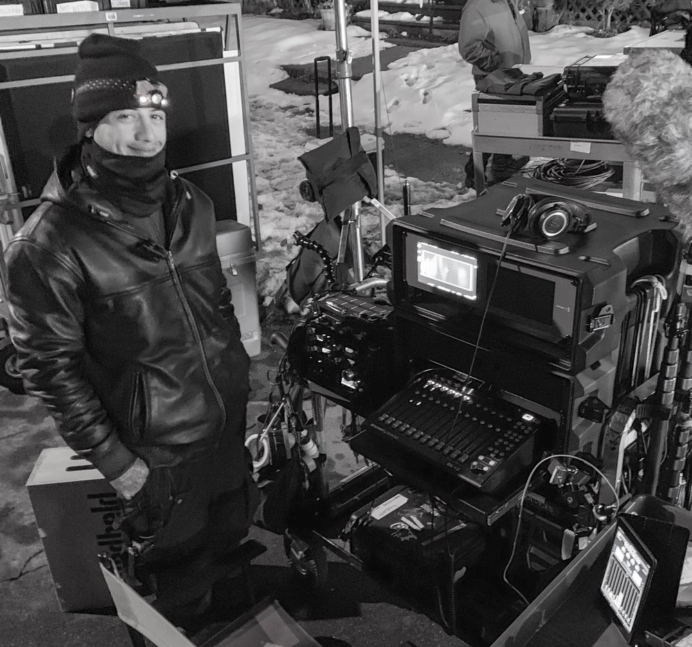 Sound Mixer Nick Đỗ on location in Utica, NY. IATSE Tier 1 Feature. December 2018
