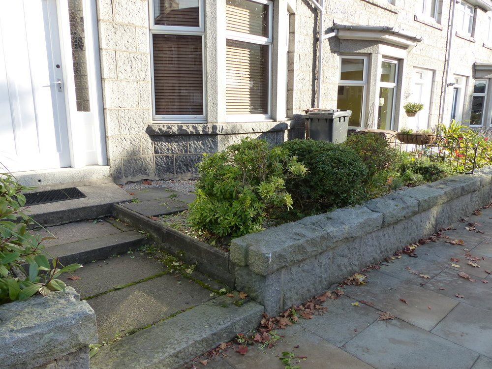 Before - Tired shrubs and uneven steps