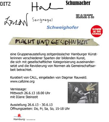 """Flyer """"Macht und Gewohnheit"""" kuratiert von CALL, Gängeviertel, Hamburg, 2013"""