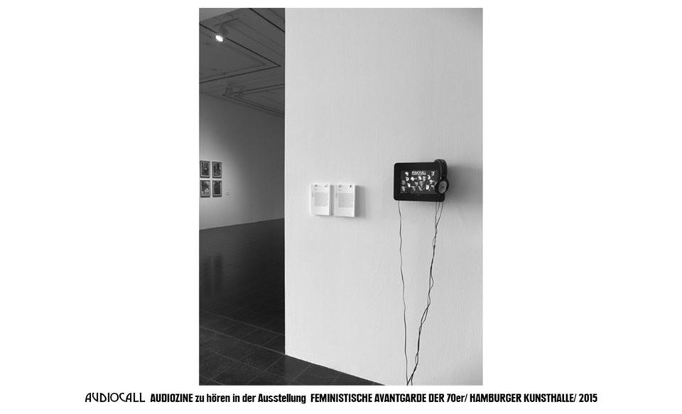"""Ausstellungsansicht """"Feministische Avantgarde der 1970er Jahre"""" CALL Audio Installation, Hamburger Kunsthalle, 2015"""