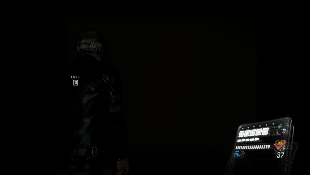 This picture was taken with the default gamma setting, and the flashlight on. Easily the darkest game in the series. Because you can't see anything.
