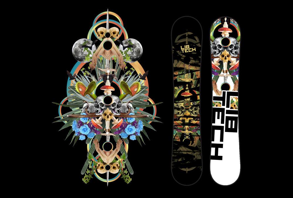 Various Lib Technologies snowboard graphics 2004 - 2016