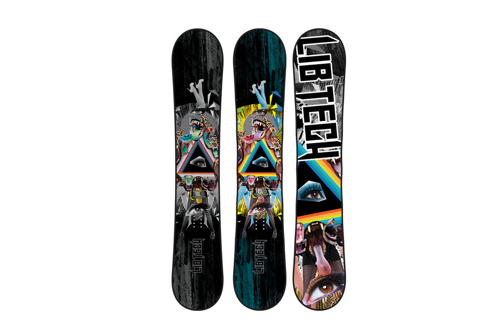 Various Lib Technologies snowboard graphics 2004 - 2016