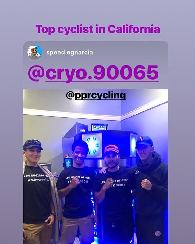 Our regular clients believes in #cryotherapy #cryo90065 #musclerecovery #eaglerock #glendale #pasadena #90065 #glassellpark #cycling #cryoinnovations @speediegnarcia @pprcycling