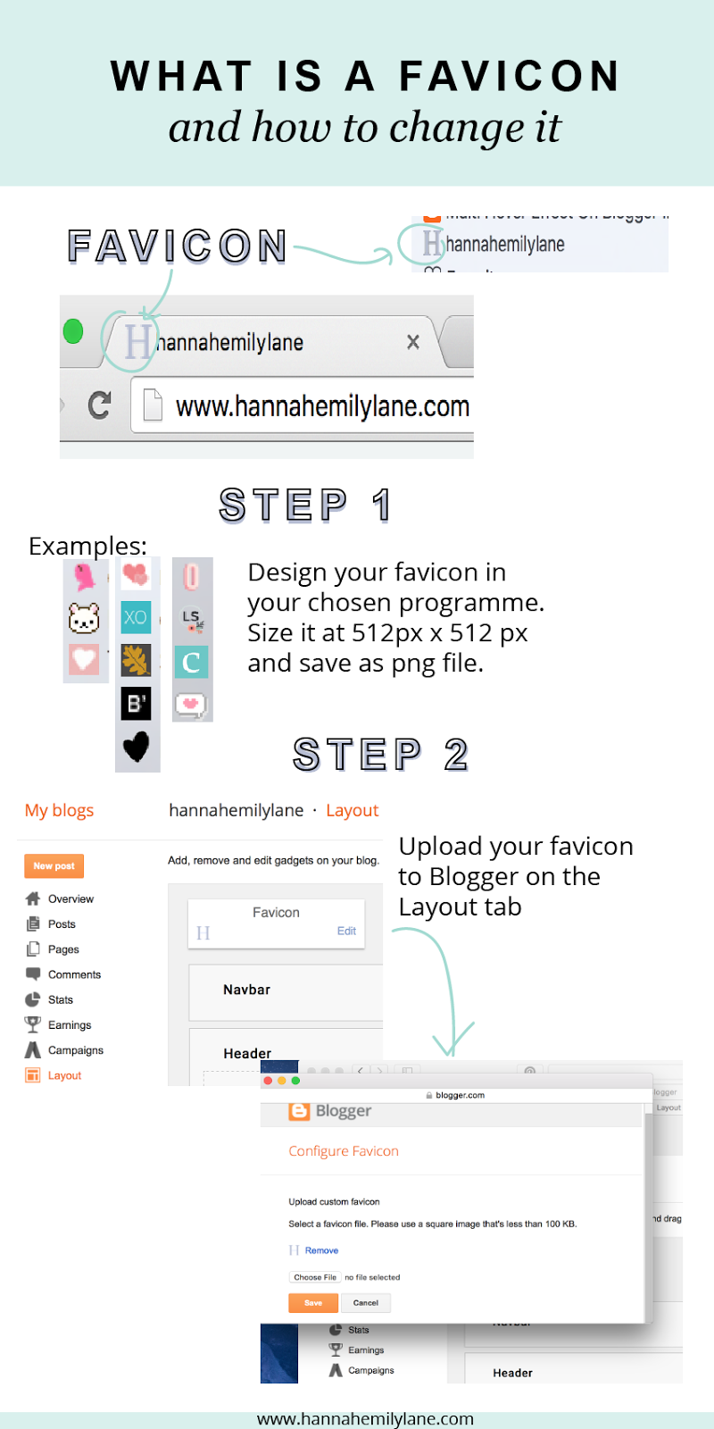 A quick guide to changing the favicon for your blog, and 9 other quick and easy design updates | www.hannahemilylane.com