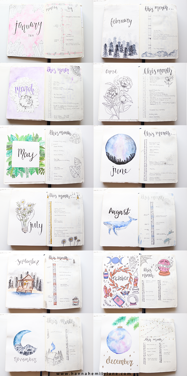 Bullet Journal monthly title pages | www.hannahemilylane.com