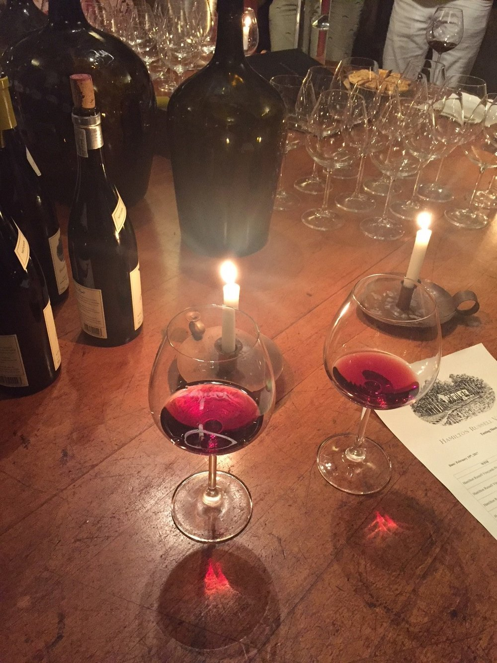Tasting Pinot by candlelight at Hamilton Russell