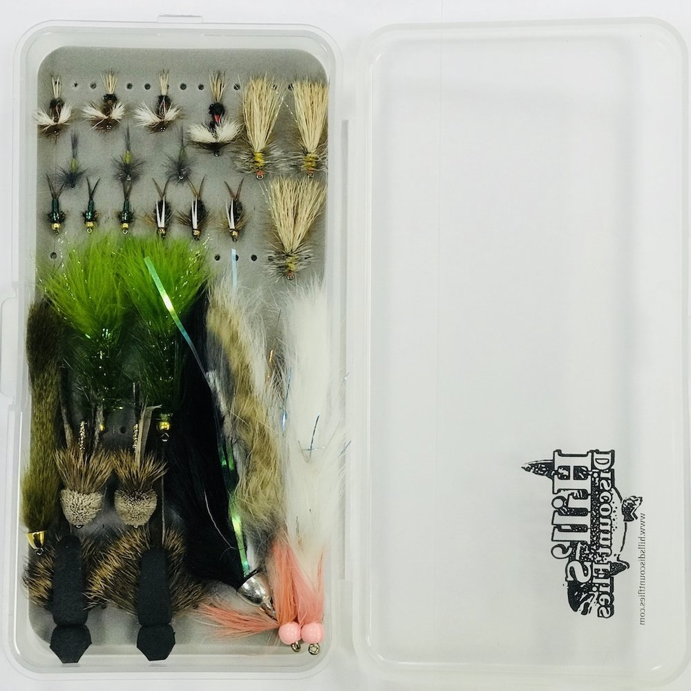 """Labrador Fly Box "", 3 Royal Wulffs, #14; 1 Royal Wulff, #8; 3 BWO duns, #16; 3 Stimulators #8; 3 Green Copper Johns, #14; 3 Prince #14; 2 Muddler Minnows #4; 1 Olive Slumpbuster #2; 2 Wooley Buggers, olive #2; 1 Dali Lama, black/natural #2; 2 White Articulated Bunny Leech #2; 2 Swimming Mouse #2.  Now get out a catch that brookie of a lifetime!"