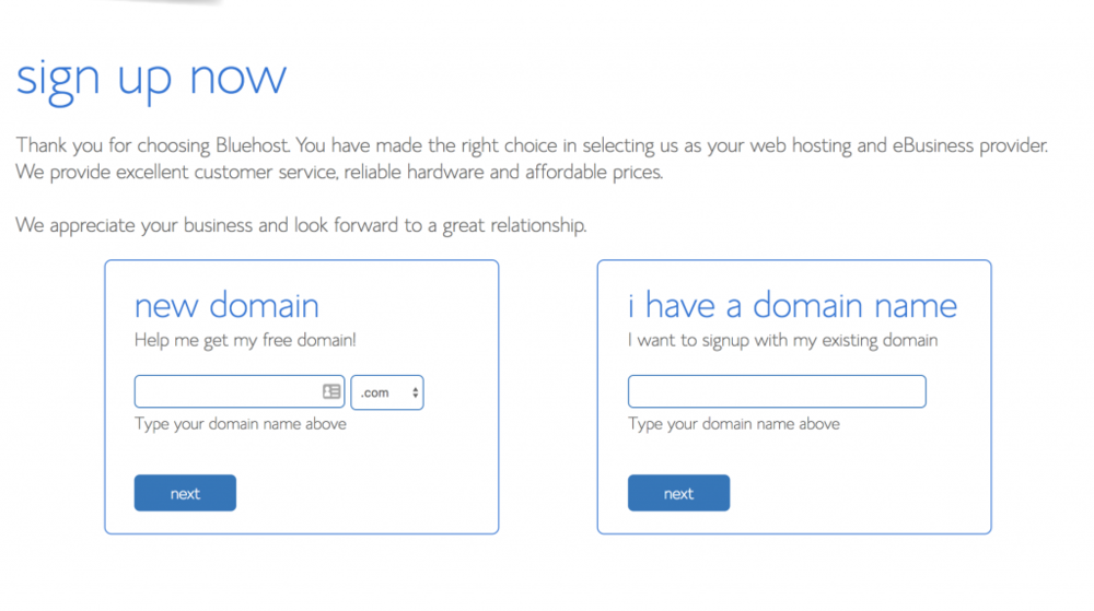 If you already have a domain, you can enter it here.  One big positive to Bluehost is that it does include a free domain with your hosting plan, so if you need a new domain, enter it in the New Domain box.  Alternately if you already have a domain registered, you can get another free domain (eg. www.GLAMOURGIRL.net) which can then be pointed to your primary domain as well.  Just keep in mind that you will be charged for this new domain registration at the end of your free year so I do not recommend adding an extra domain, there's no need . You do NOT need to actually transfer your domain to Bluehost if it is registered elsewhere, if Top Notch Creative is your blog or site designer, we will point your domain to Bluehost for you.    Final step: