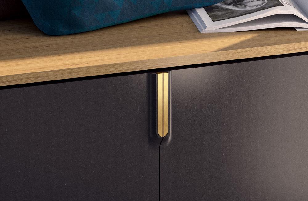 Serif / Organically shaped door handles