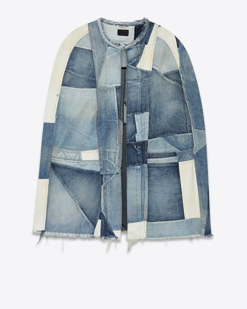 YSL  - Brand  PATCHWORK CAPE IN VINTAGE MEDIUM BLUE USED DENIM